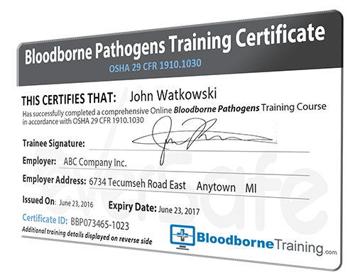 bloodborne pathogens certification training online - healthcare